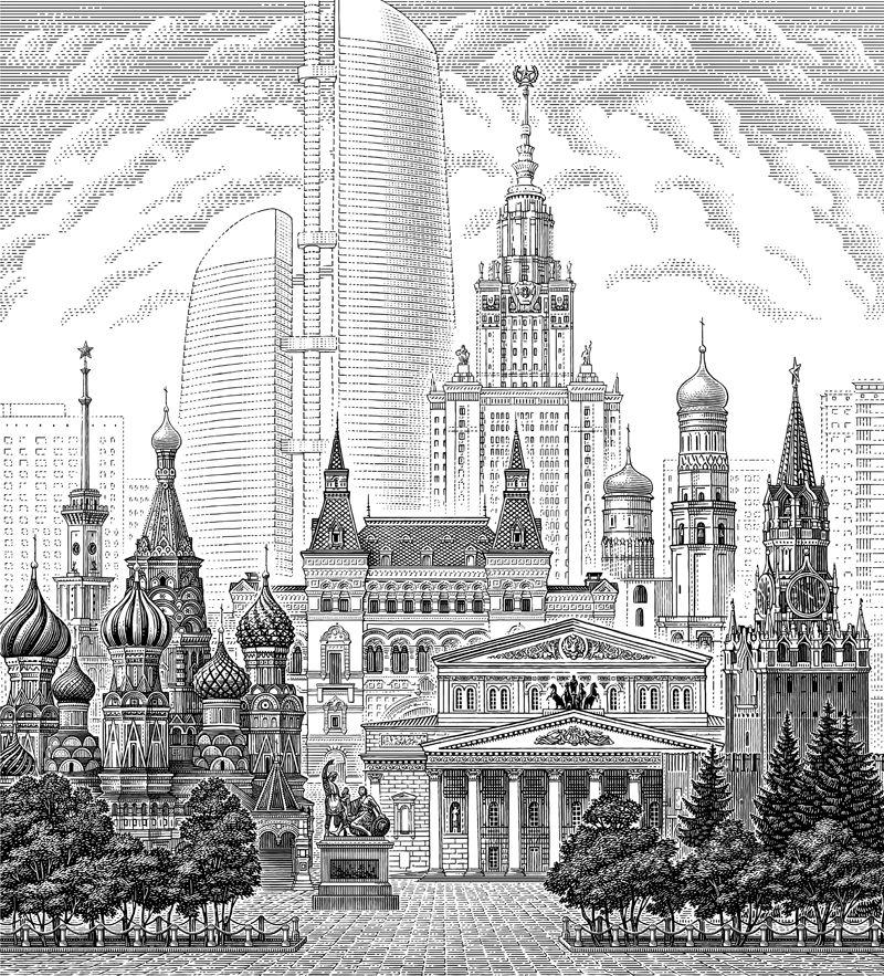 картинки москвы сити рисунки
