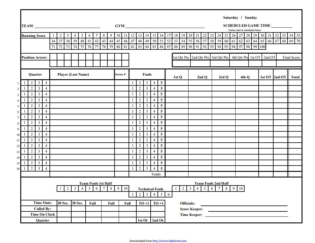 Image Result For Basketball Score Sheet