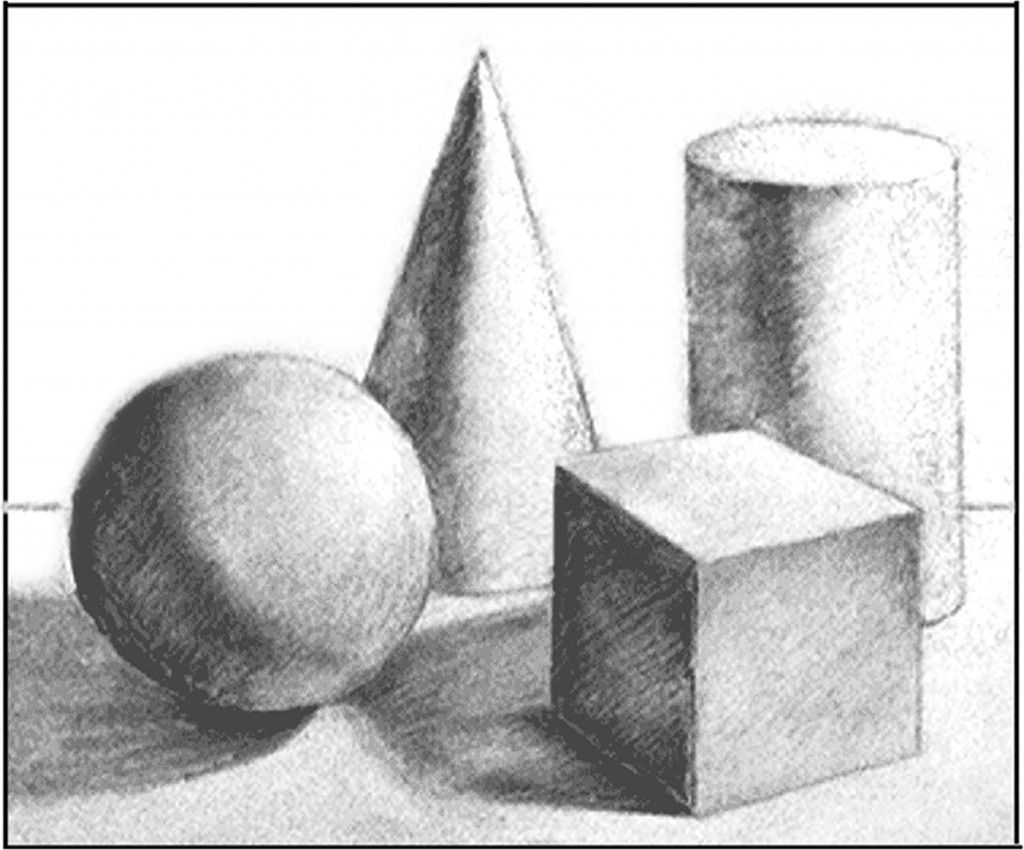 Four Basic Shapes Drawn To Show Three Dimensions