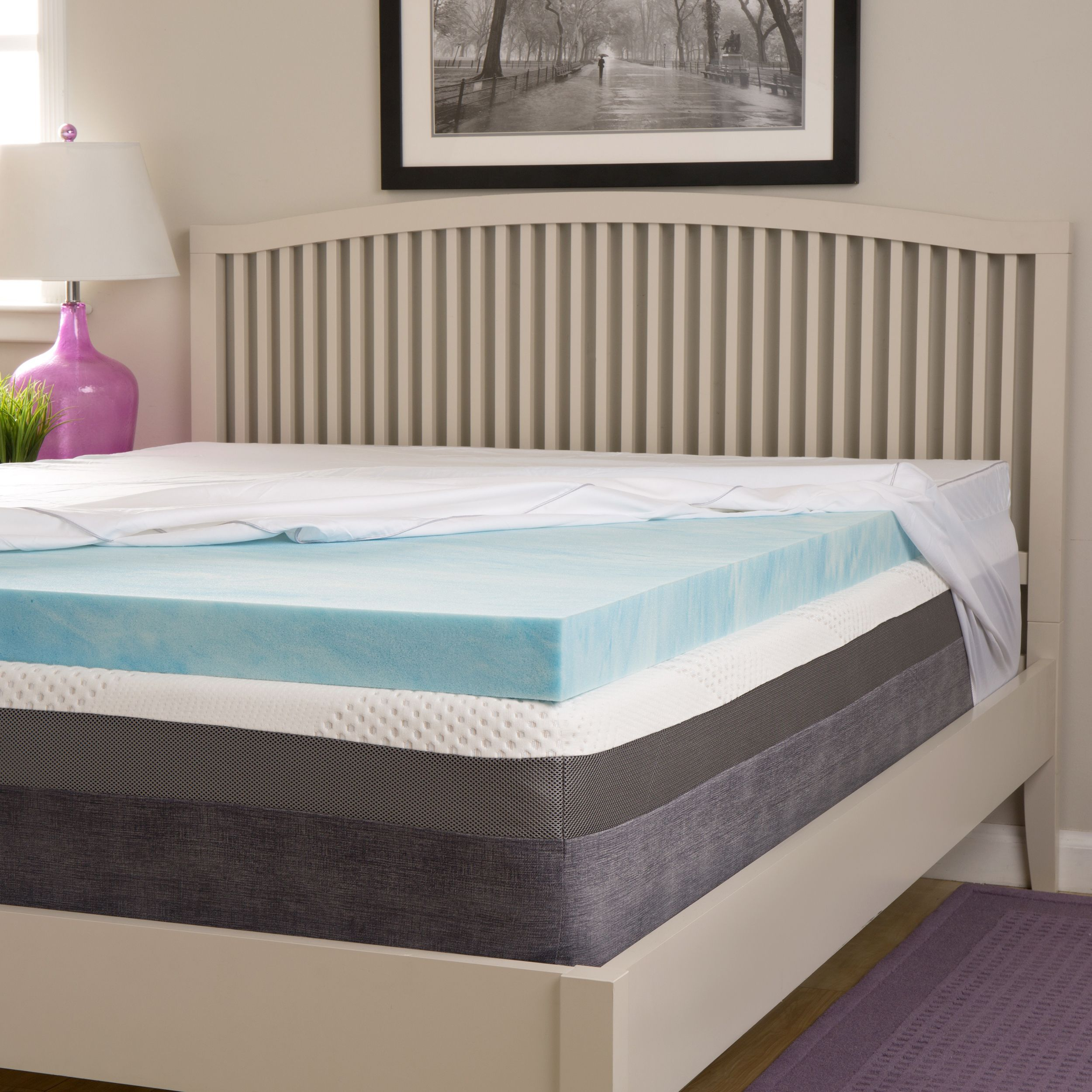 Beautyrest Choose Your Comfort 2-inch Gel Memory Foam Mattress Topper with  Egyptian Cotton Cover