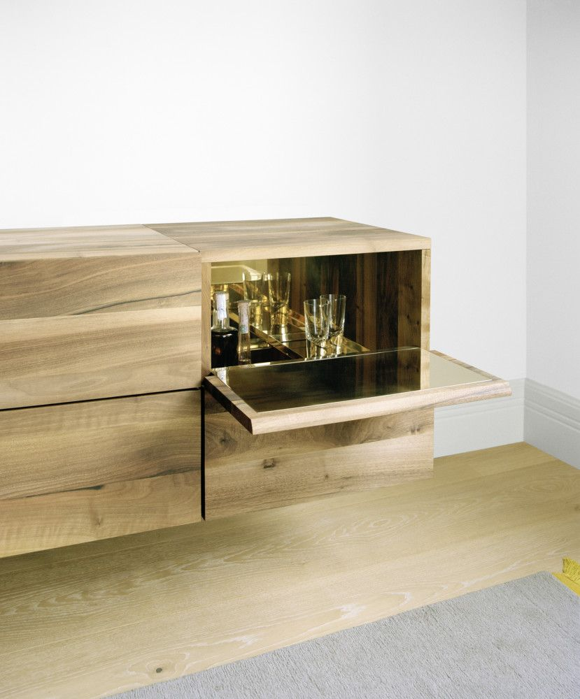 Sb10 Araq Bar Cabinet Oiled Oak And Stainless Steel Short By E15