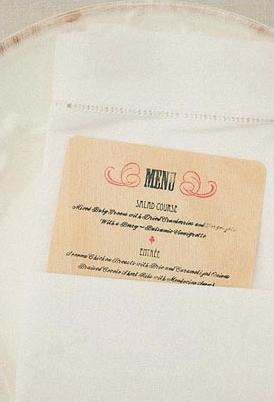 wedding reception menu in napkin