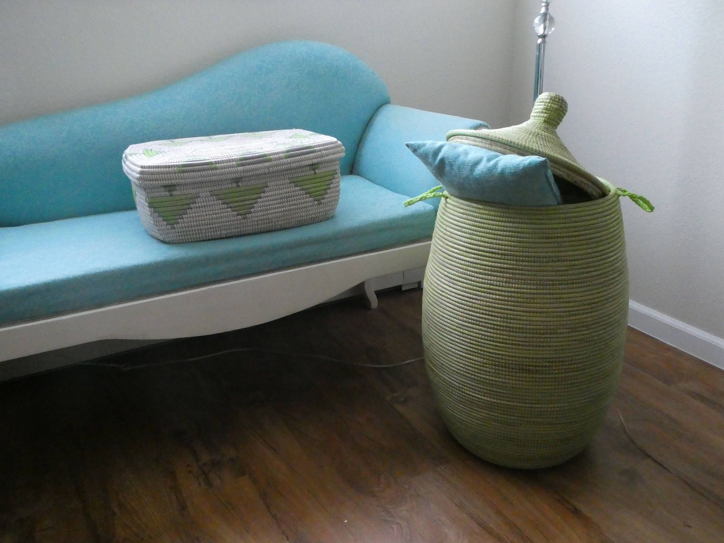 Wäschekorb Xl African Laundry Basket Mint Green Moss Green Lidded Hamper