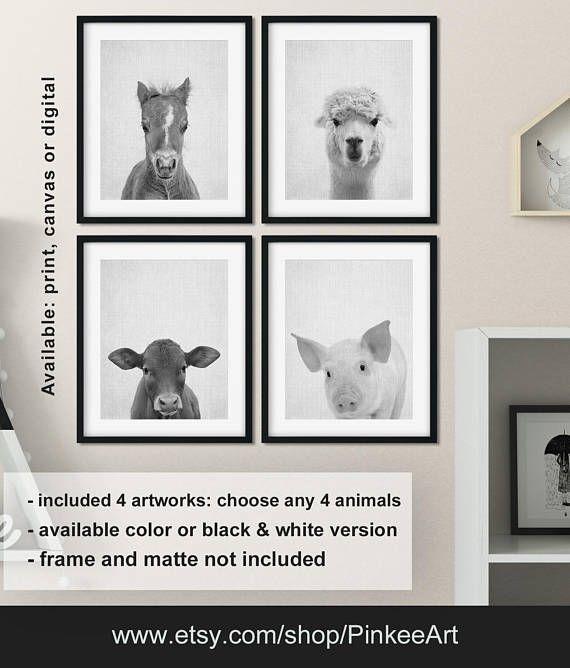 Black And White Farm Animal Nursery Farmhouse