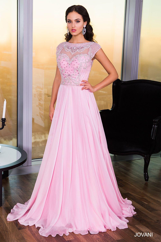 Jovani 21030 Cap Sleeve Jeweled Chiffon Prom Dress Evening Gown ...