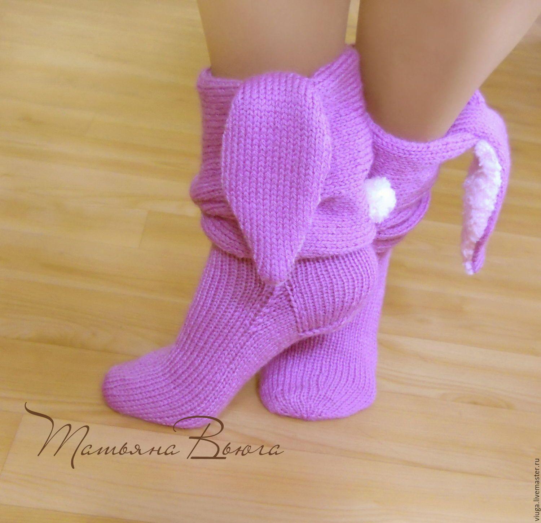 носки вязаные, гетры, связаны спицами, носки для дома ...