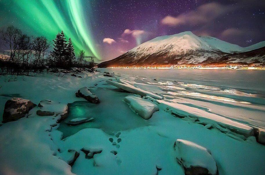 Aurora Borealis near Tromso, Norway from Google Earth Pics on Twitter