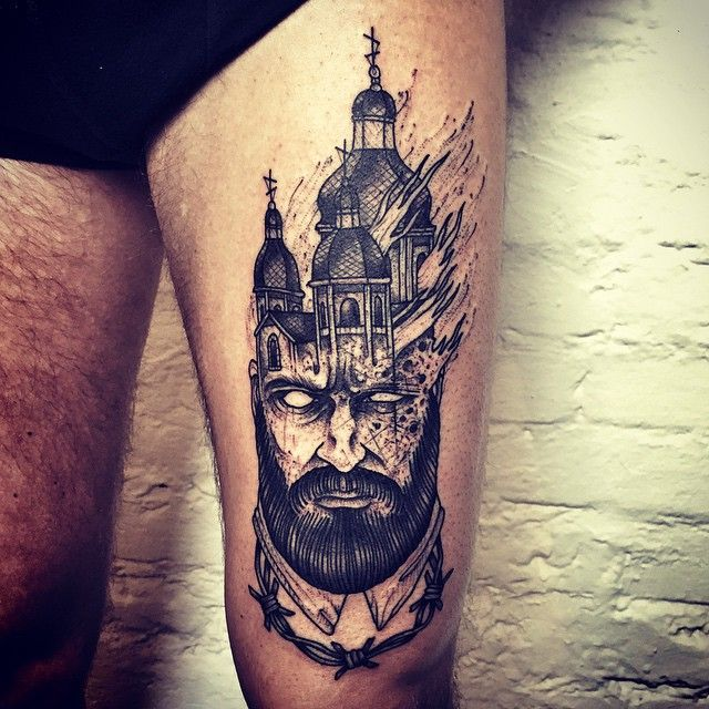Small Church Tattoo: Burning-Church-in-Head-Tattoo-on-Thigh-by-Barbe-Rousse.jpg
