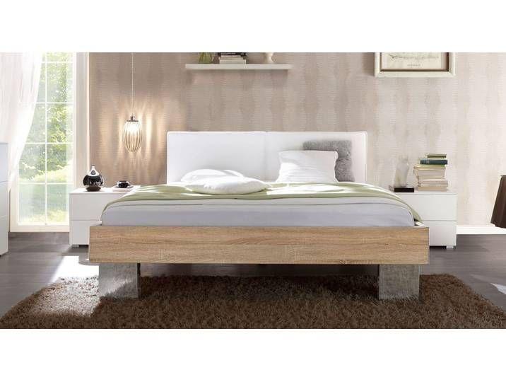 Bett 90×200 cm mit Dekor grau und weißem Kopfteil – Cassio – Designerb