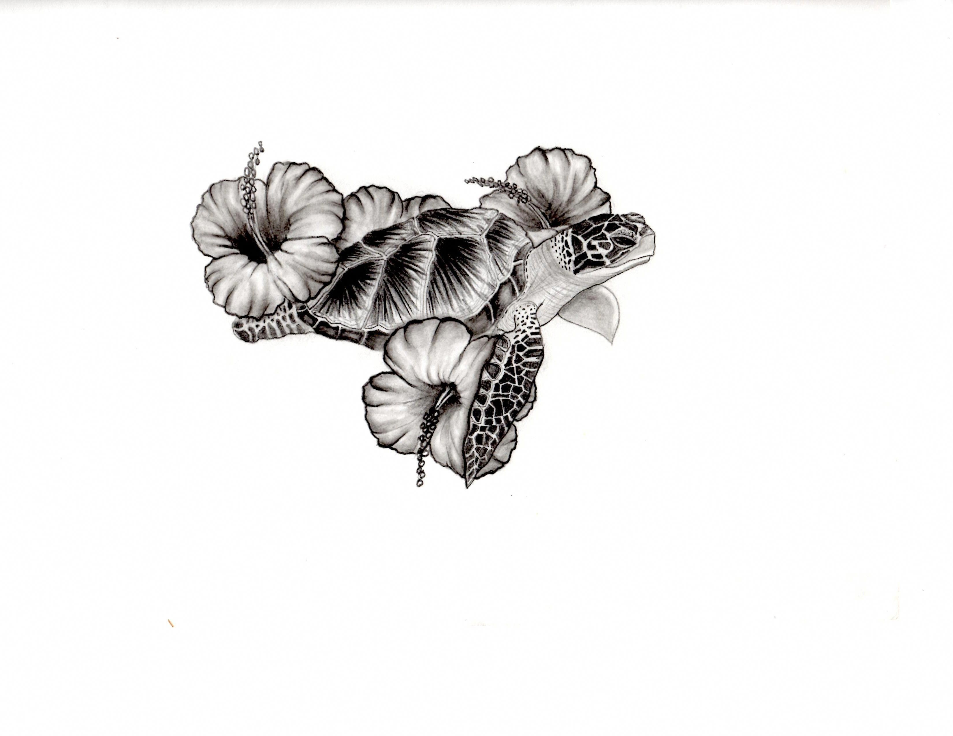 Sea Turtle And Hibiscus Tattoo Design Hawaiiantattoos