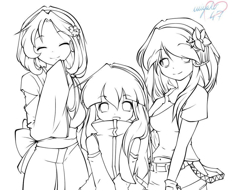 Lineart Sisters by miyako47 Anime, Art, Anime chibi