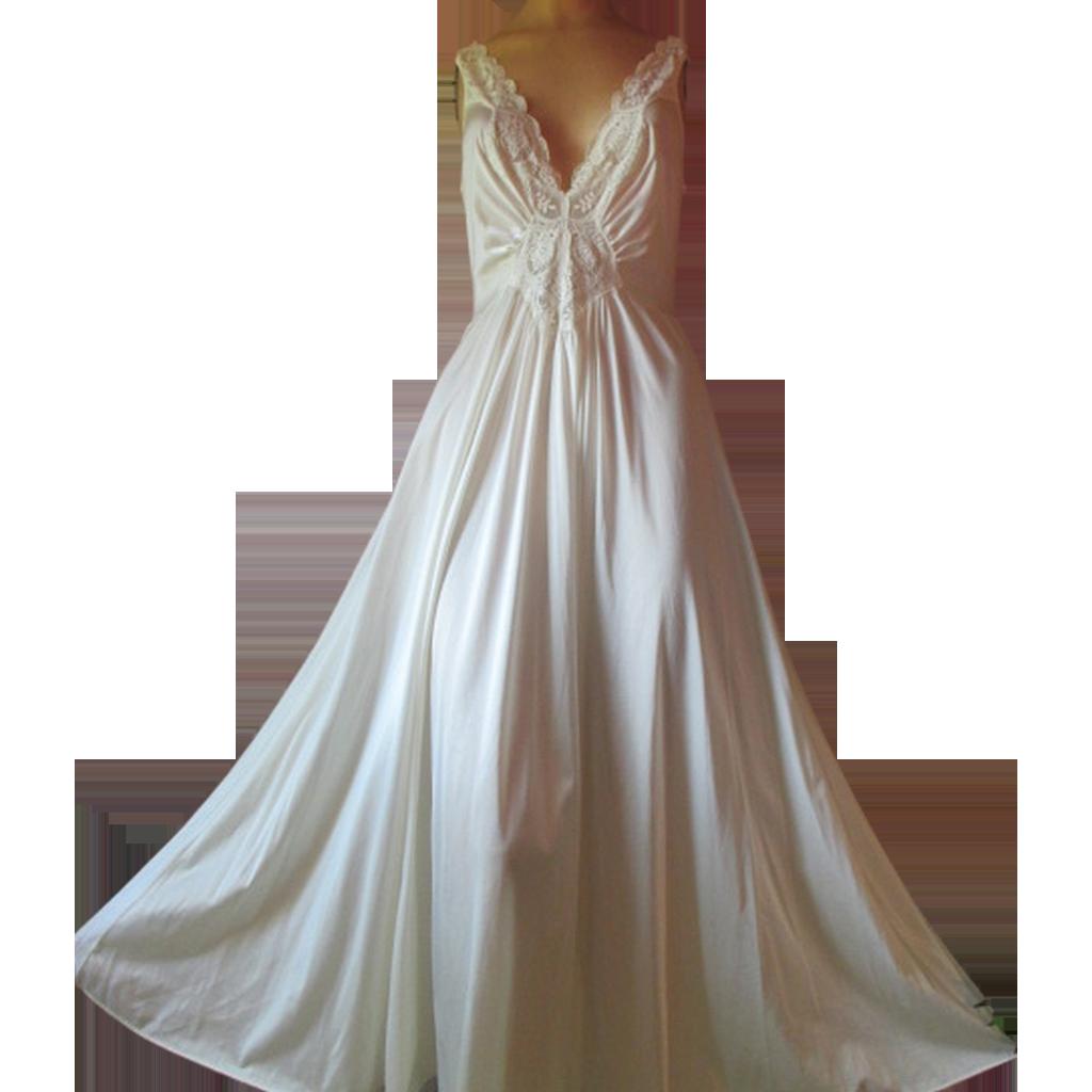 Vintage Olga Nightgown Ivory Bodyhug Long Full Sweep XL L