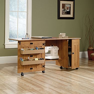 Drop Leaf Provides Extra Work Space For Sewing Or Crafts Storage