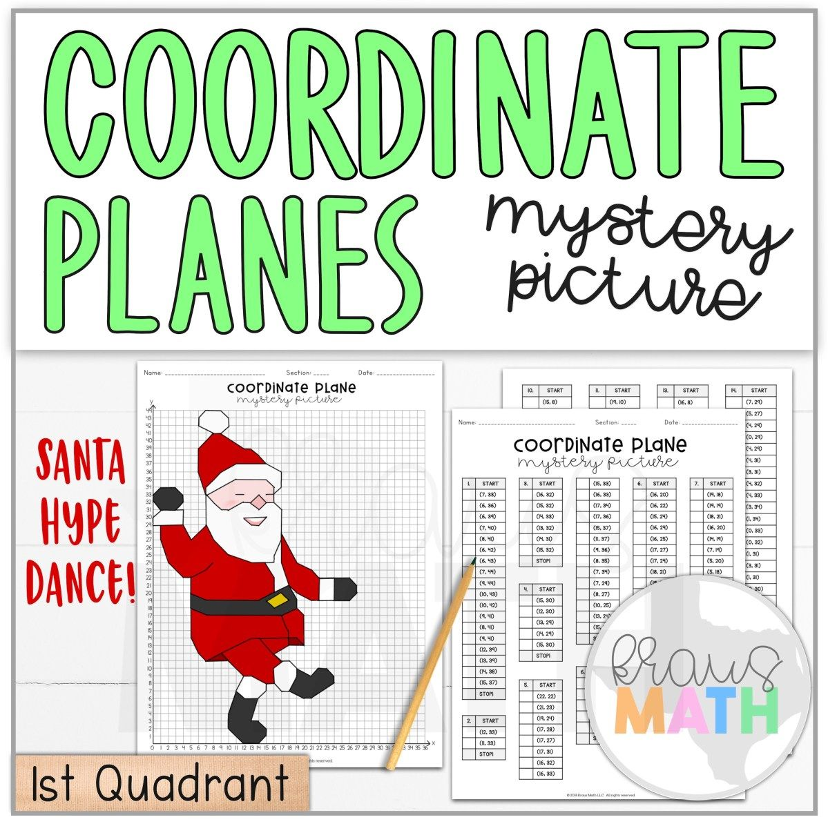 Santa Hype Dance Coordinate Plane Activity 1st Quadrant