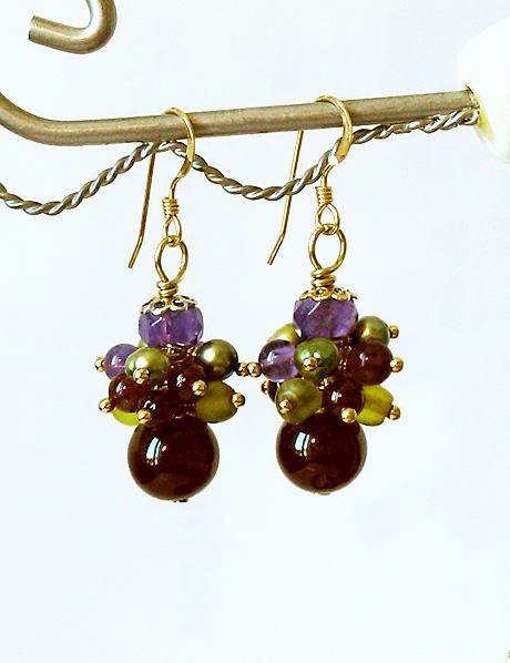 Boucles d'oreilles Grappe Pierres Multicolores : Grenat