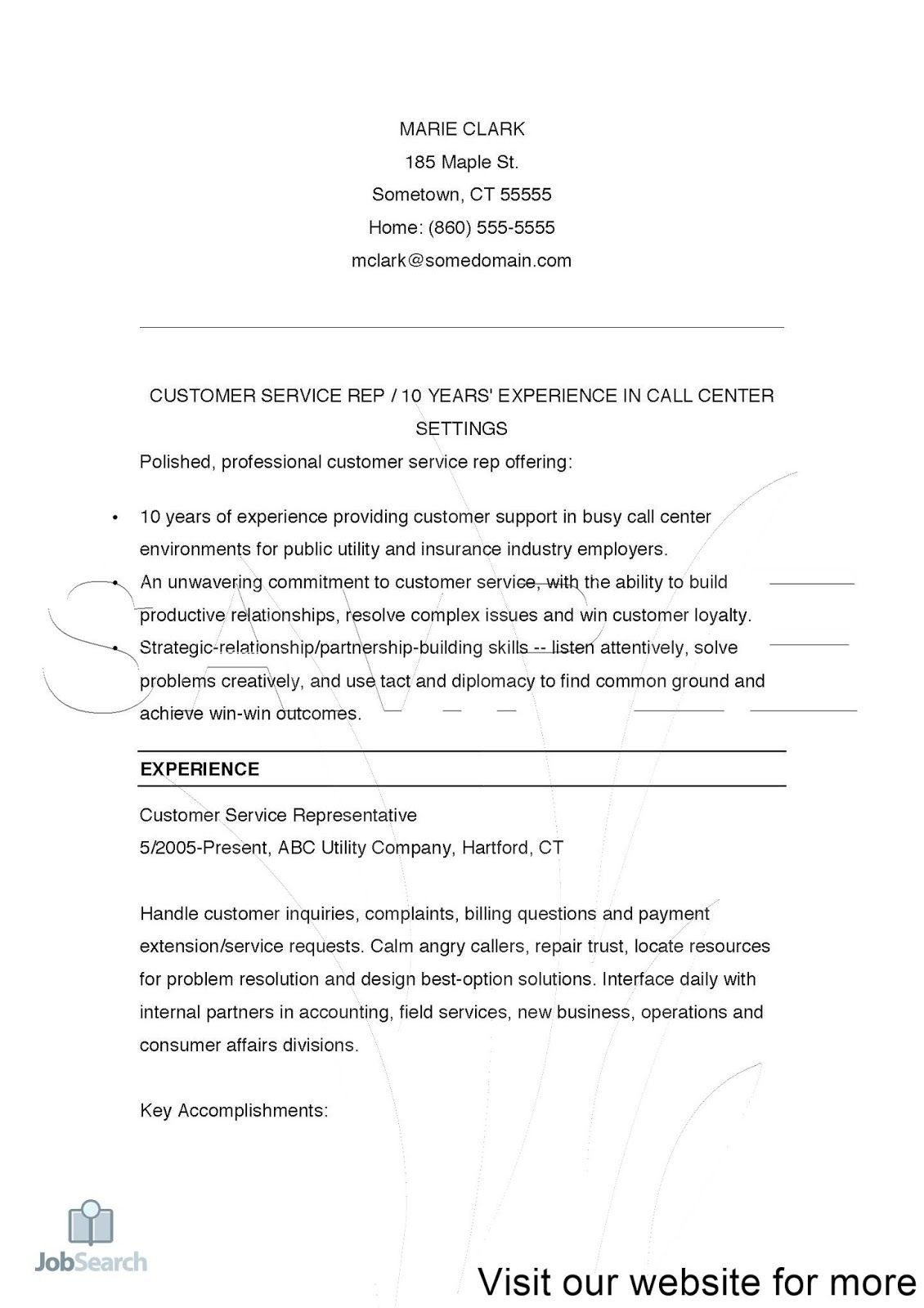 Customer Service Representative 10 Years Of Experience In Call