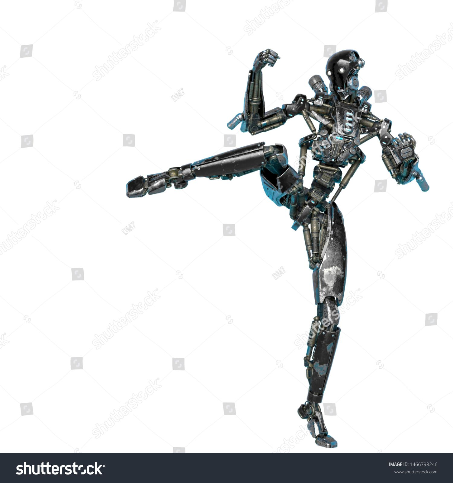 ninja robot brutal kick in a white background This cyber soldier in clipping path is very useful for graphic design creations 3d illustration