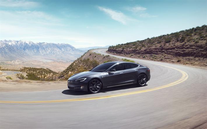 Indir duvar kağıdı Tesla Model S, 4k, 2018 otomobil, Dağ