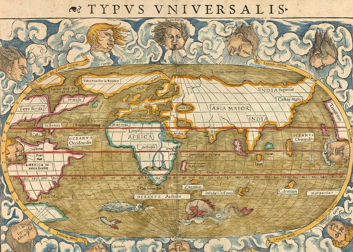 World map surrounded by illustrations of wind heads 1542 world map surrounded by illustrations of wind heads 1542 gumiabroncs Images