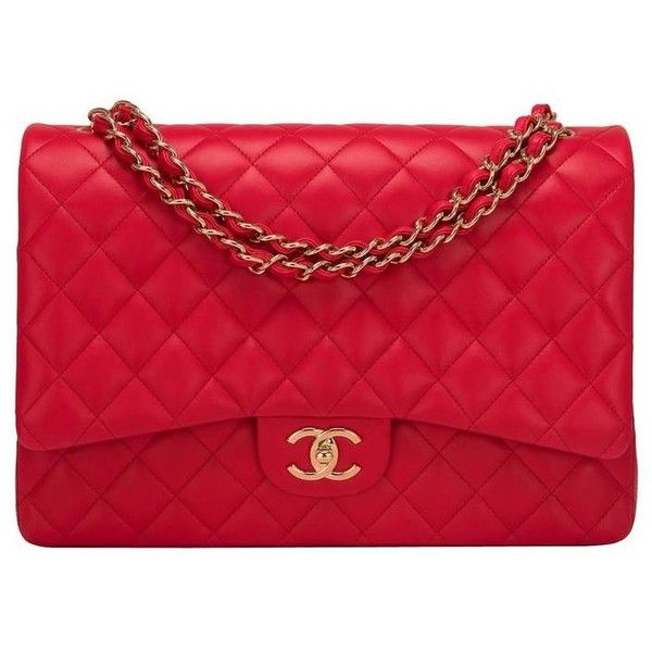 Preowned Chanel Red Quilted Lambskin Maxi Classic Double Flap Bag Red Handbag Chanel Flap Bag