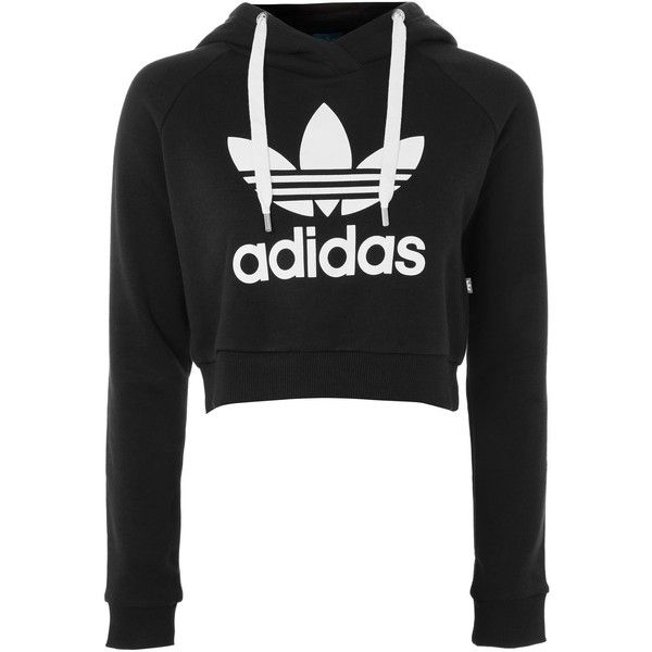 5d51d2b990e53 Crop Logo Hoodie by Adidas Originals ( 59) ❤ liked on Polyvore featuring  tops