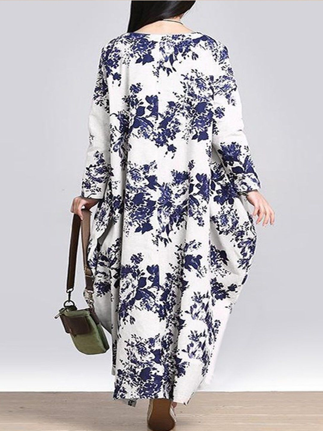 Casual printed cocoon long sleeve plus size dress saias longas