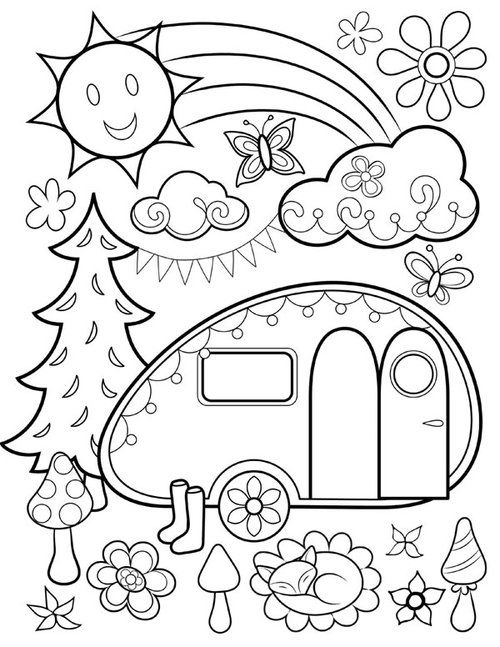 Free Happy Campers Coloring Page By Thaneeya With Images
