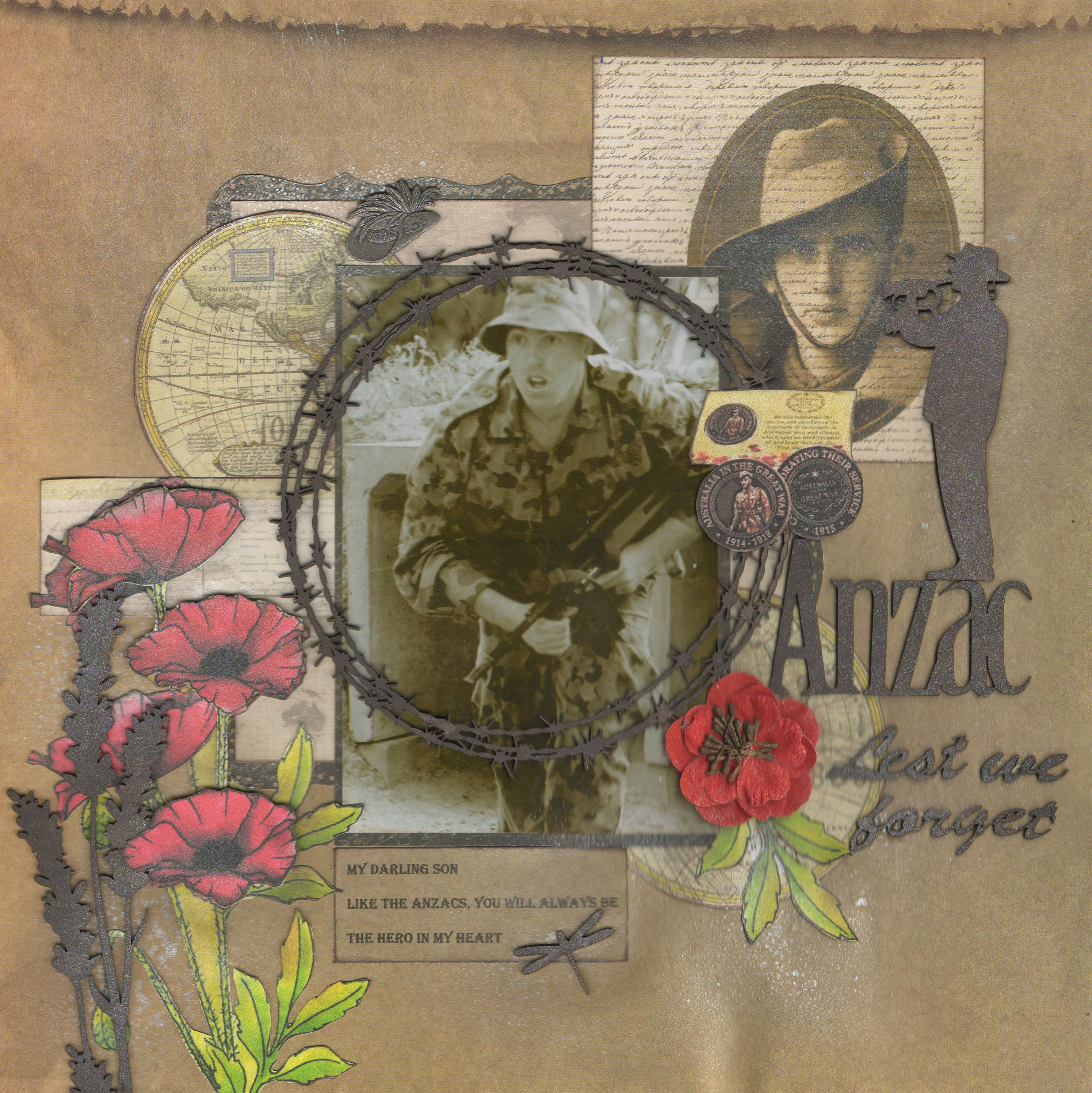 How to scrapbook like poppy - My Hero 1915 Wwi Era Heritage Page With Military Photos And Poppy Embellishments For