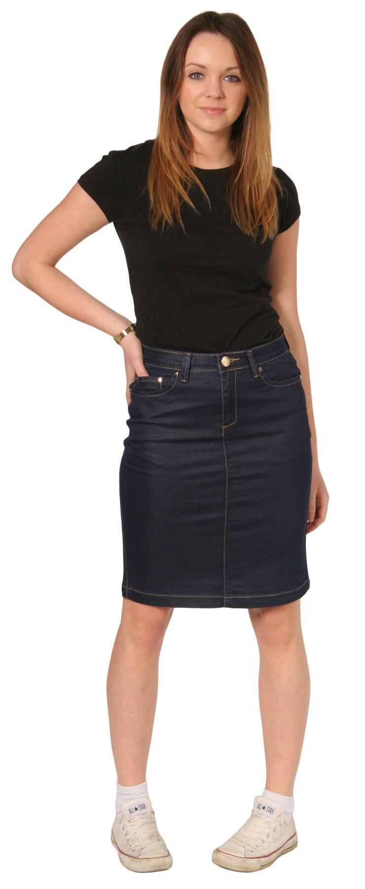 b446314b4 Cute Dark Indigo Blue Denim Skirt (SKIRT61)     Girls in jeans skirts