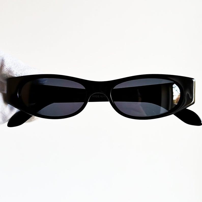 Gucci Vintage Sunglasses Rare Oval Black Rectangular Small Etsy Sunglasses Vintage Small Sunglasses Vintage Gucci
