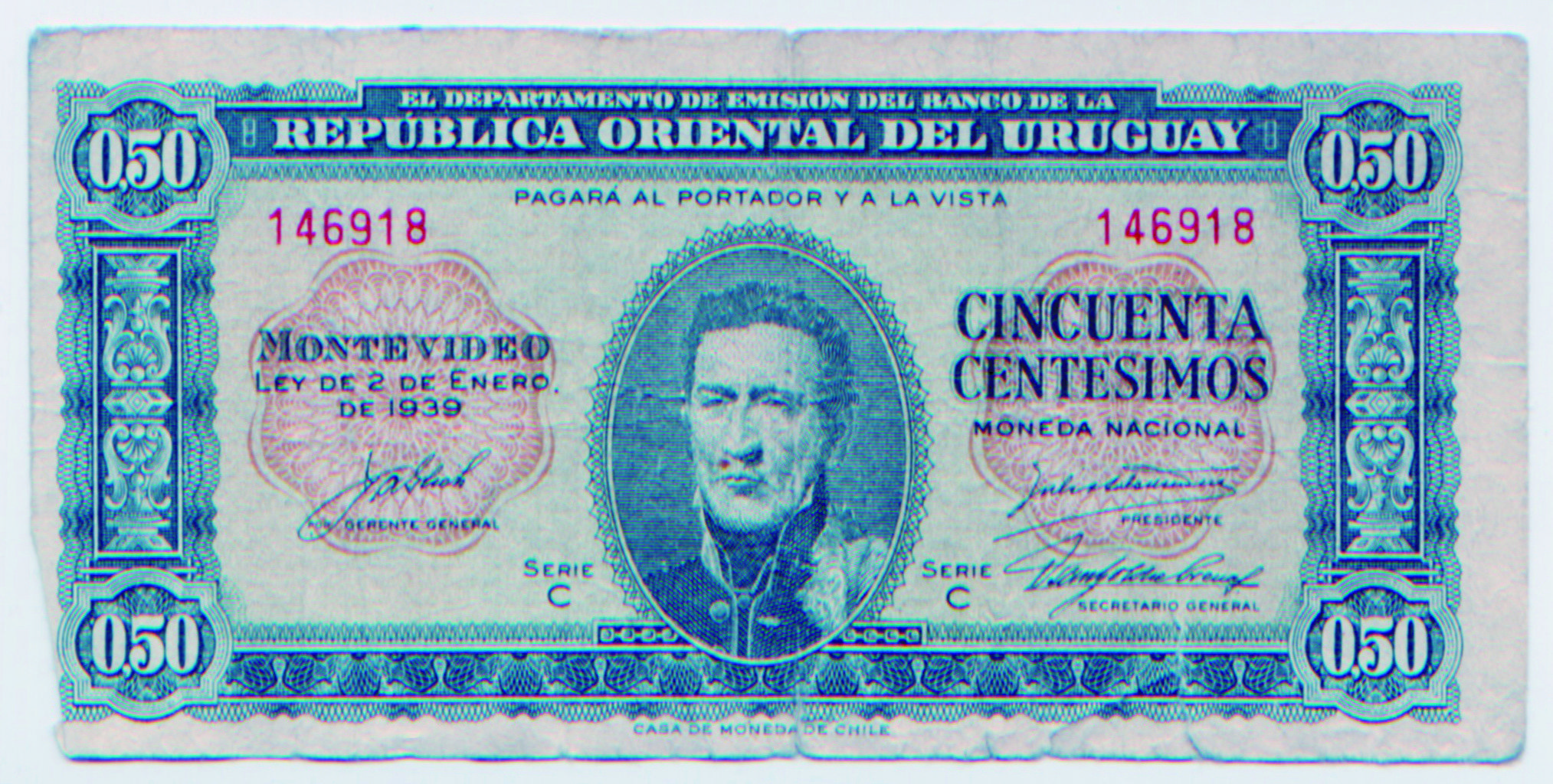 50 Centesimos Uruguay Moedas Selos Dinheiro