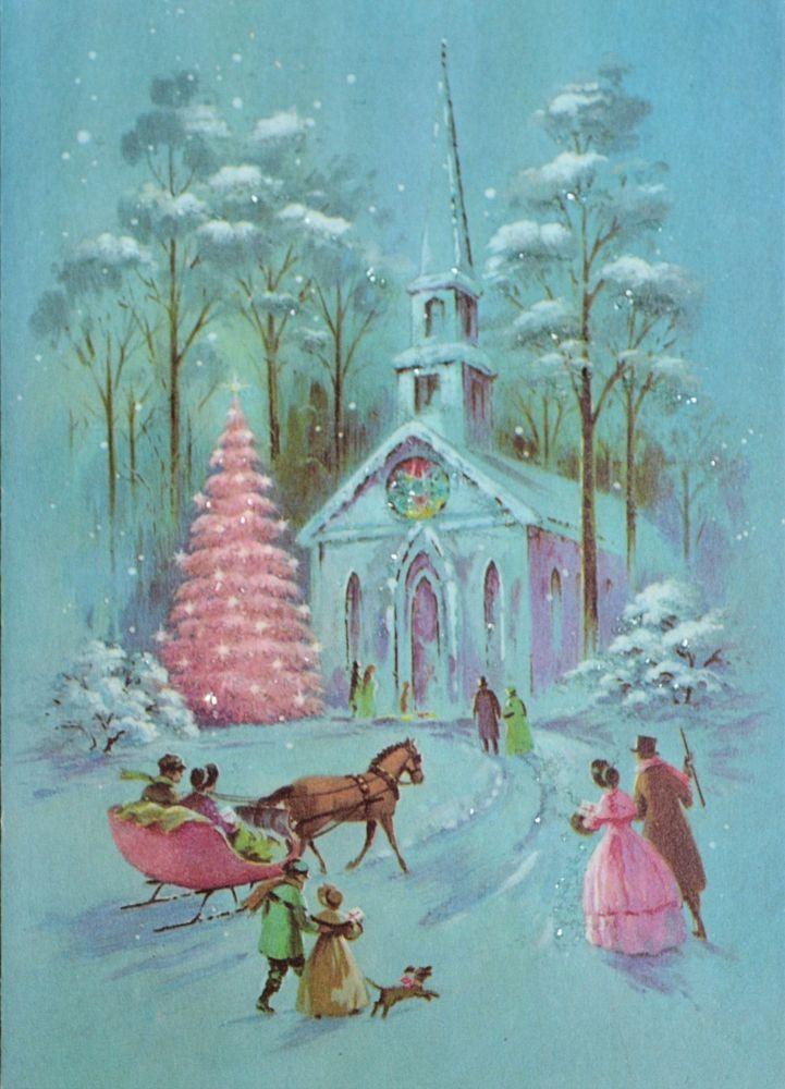 vtg unused glitter christmas card pink tree pink horse. Black Bedroom Furniture Sets. Home Design Ideas