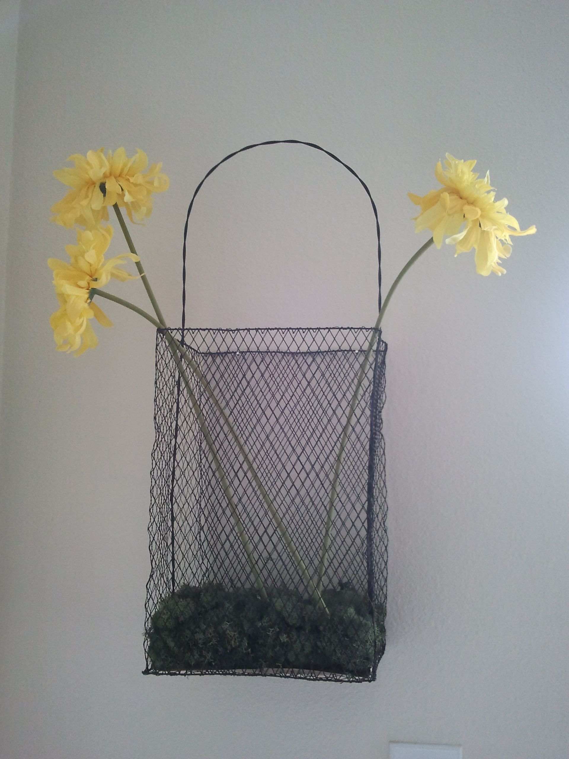 wire basket with sunny flowers in my living room | Wire ...