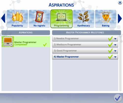 The Sims 4 Programmer Aspiration This Sim Wants To Master The Programming Skill And Become One Of The Best Prog Sims 4 Skills Sims 4 Traits The Sims 4 Packs
