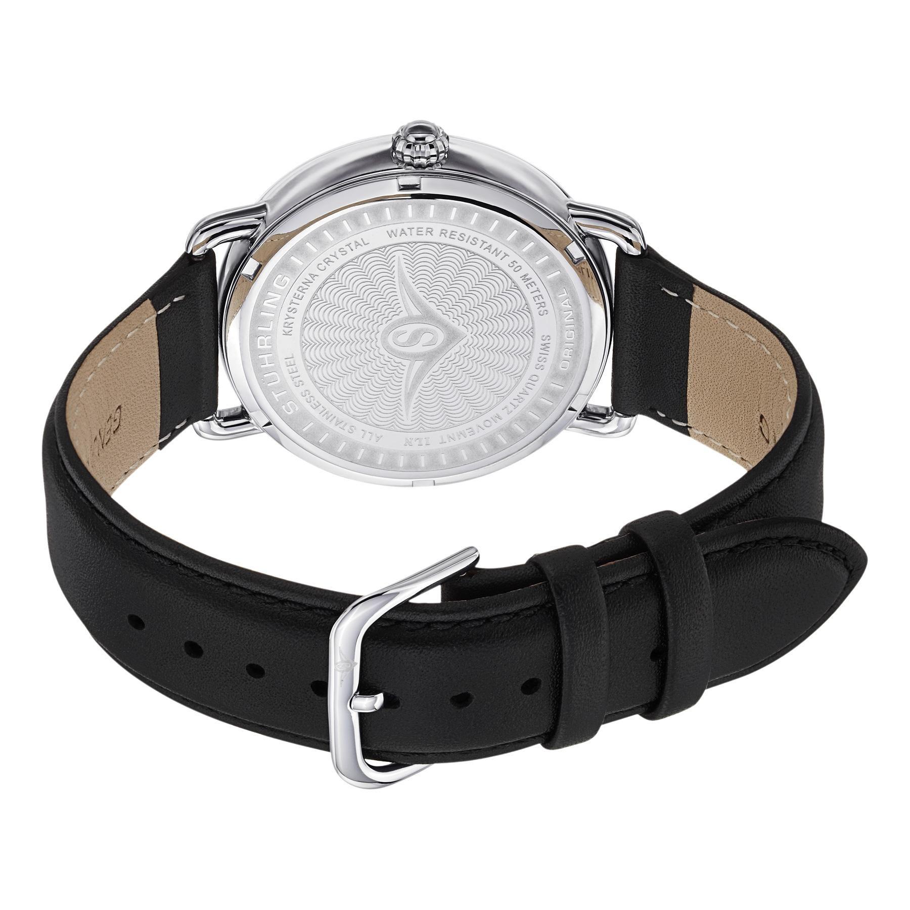 Stuhrling Original Ascot Mens Designer Watch Swiss Quartz Silver Dial Date Wrist Watch For Men Mens Designer Watches Mens Dress Watches Mens Watches Black [ 1800 x 1800 Pixel ]