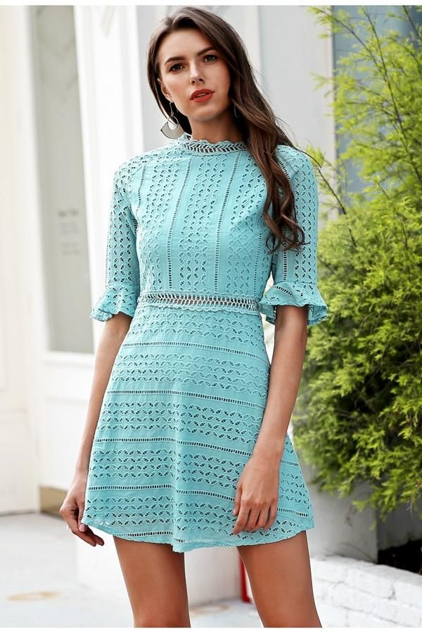 5881b4f40ba4 Elegant Women s Half sleeve hollow out lace casual dress style midi ...