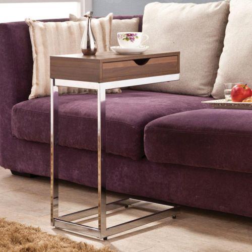 LivingRoom-Snack-Sofa-Side-Stand-Table-Storage-Drawer-Top-Cherry-Wood-Metal-Base