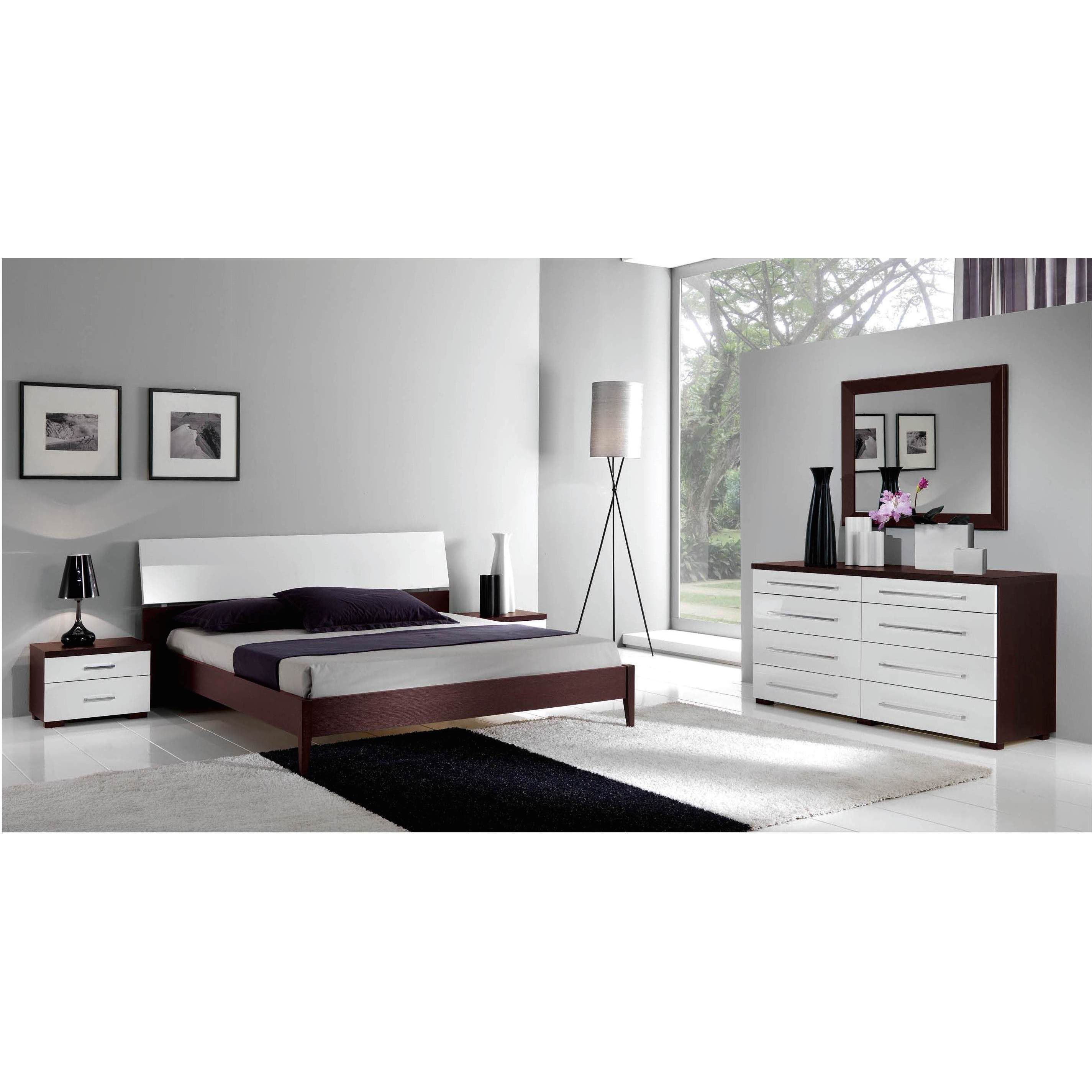 luca home wenge/ white 3-piece queen bedroom set (wenge/white 3pc
