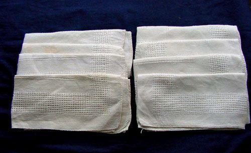 Lovely Set of 8 Antique White Linen Napkins.c1930 by chalcroft, $9.95