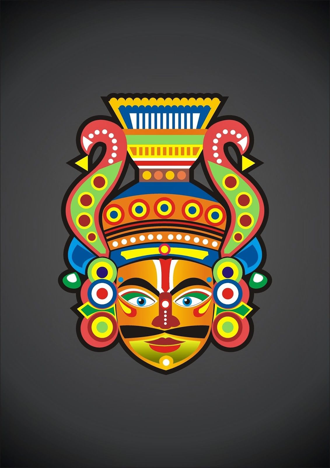 Yakshagana Mask Canvas Painting In 2019 Black Paper