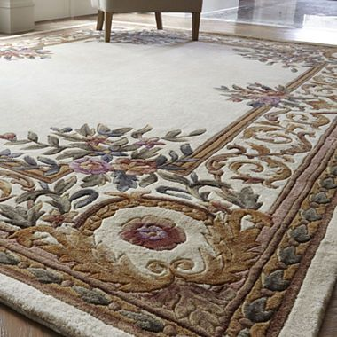 Open Field Hand Carved Wool Rug