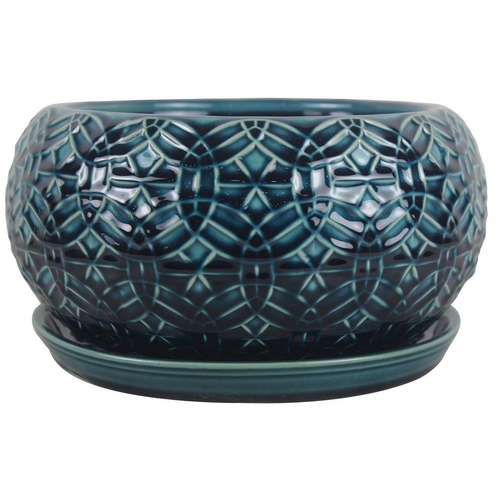 Trendspot 10 In Dia Blue Rivage Ceramic Bowl Planter Cr00665s 100m The Home Depot Ceramic Bowls White Ceramic Planter Ceramics