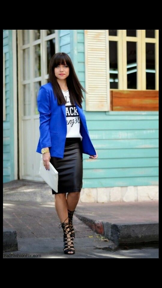 bc756f7154 Outfit idea: blue blazer t shirt but I would wear a black and white pencil  skirt!