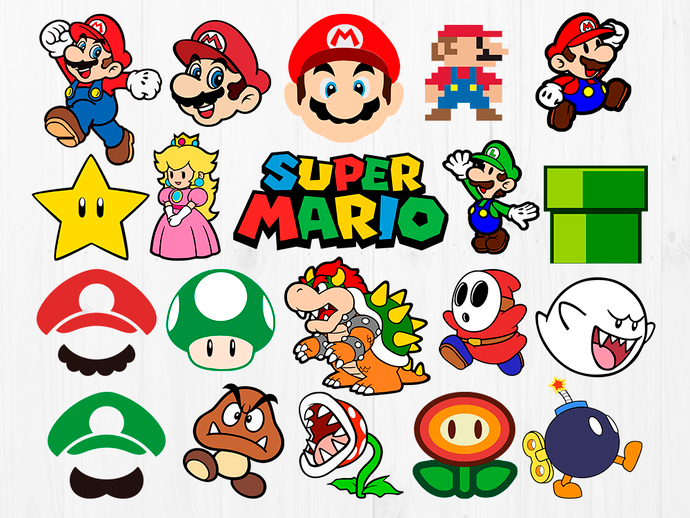 super mario bros characters svg