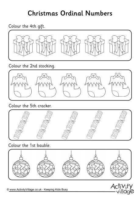 Christmas Ordinal Numbers Math Worksheets And Activities For Pr Kindergarten Worksheets Number Worksheets Kindergarten Christmas Math Worksheets Kindergarten