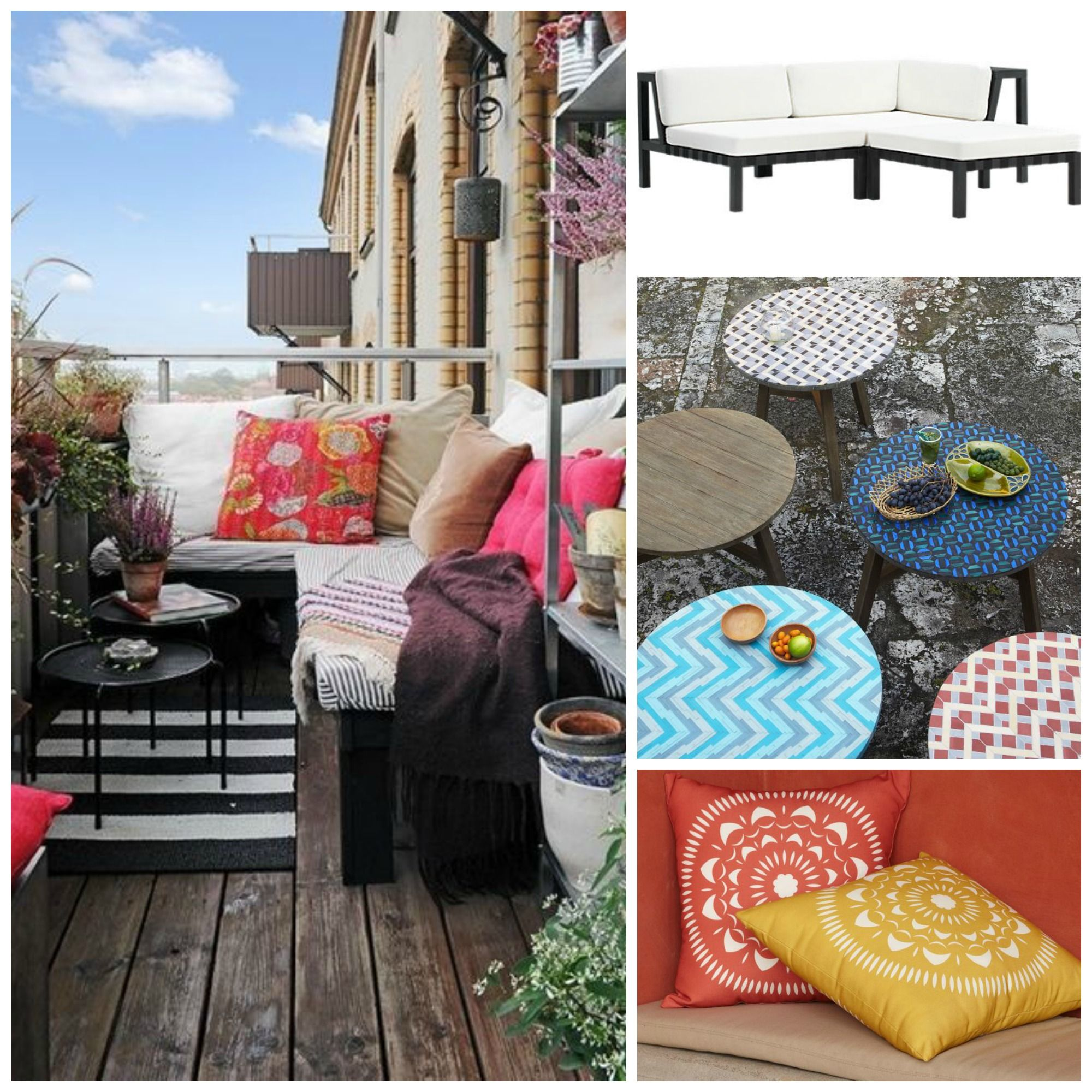 Anthropologie, Balcony Decor, CB2, Deck Tiles, Ikea, Lantern, Outdoor  Cushions