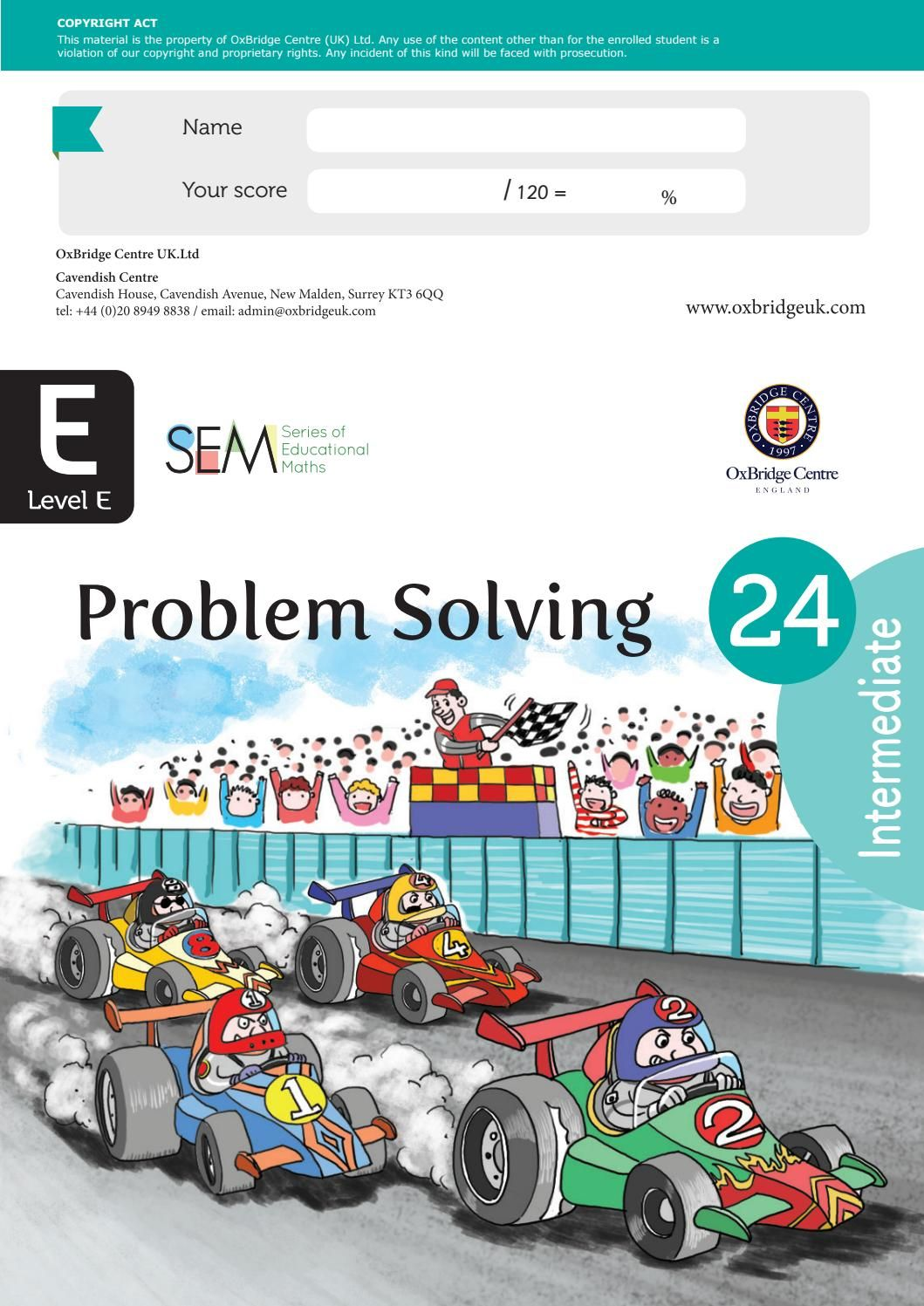 Oxbridge Centre Year 5 Intermediate Problem Solving Maths