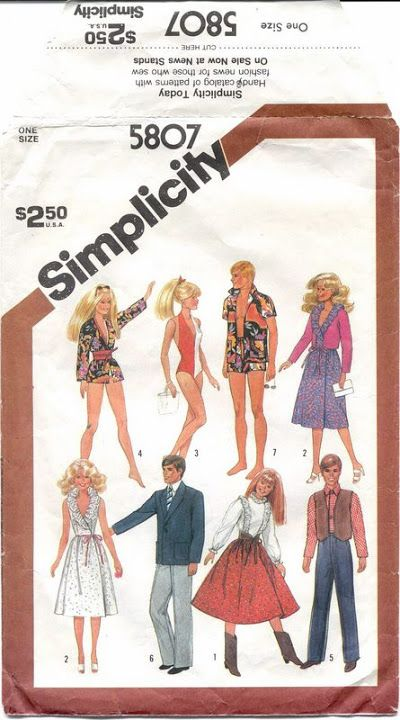 Free Copy of Pattern - Simplicity 5807 | moldes | Pinterest | Barbie ...