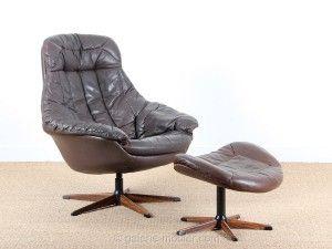 Fauteuil scandinave pivotant en cuir et repose pieds