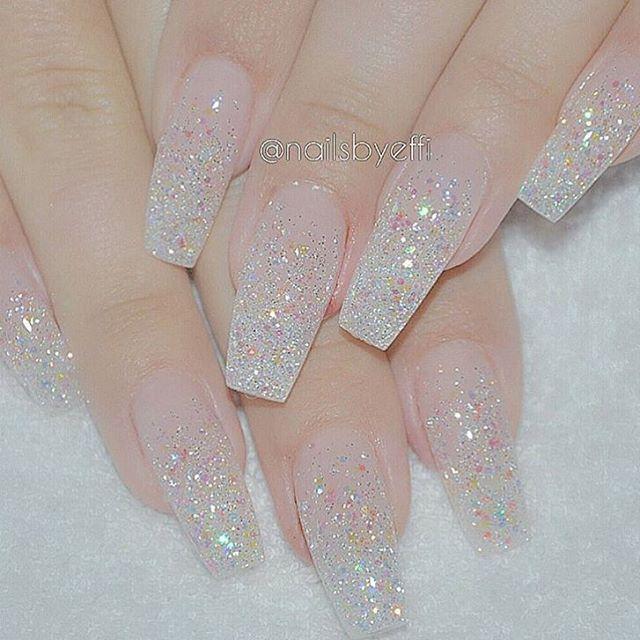 Clear Sparkle Acrylics Clear Glitter Nails Sparkle Acrylic Nails Sparkly Nails